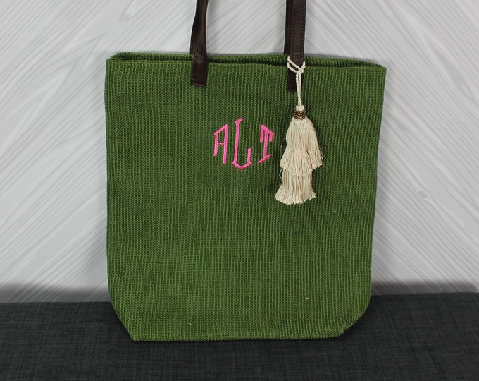Monogrammed Olive Green Straw Jute Tote Bag with tassel