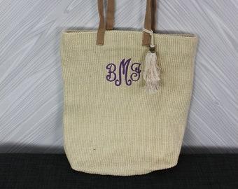 Monogrammed Cream Straw Jute Tote Bag with tassel