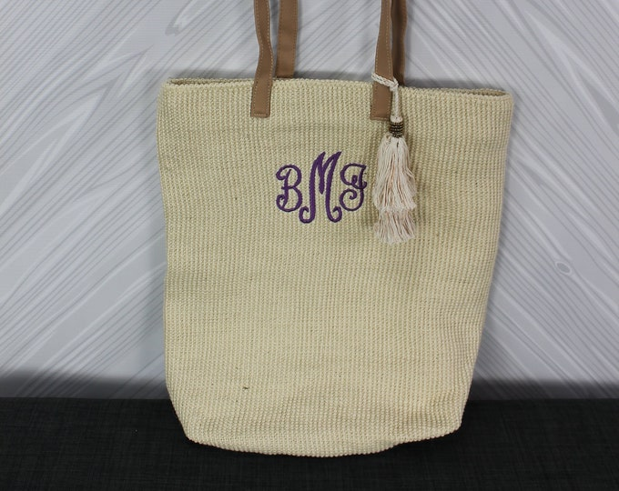 Monogrammed Cream Straw Jute Tote Bag with tassel