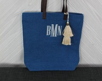 Monogrammed Royal Blue Straw Jute Tote Bag with tassel