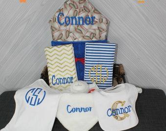 Baby gift basket- Custom for boy or girl monogrammed hooded towel, burp cloths, bib and onesie. Perfect baby shower gift!