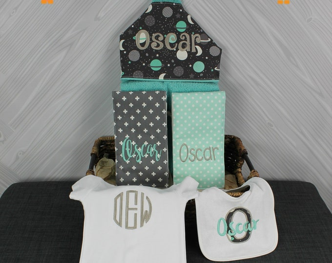 The Must Haves Baby gift basket- Custom for boy or girl monogrammed hooded towel, burp cloths, bib and onesie