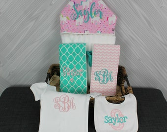 The Must Haves Baby gift basket- Custom for boy or girl monogrammed hooded towel, burp cloths, bib and onesie. Perfect baby shower gift!