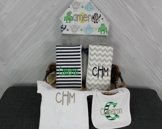 The Must Haves Baby gift basket- Custom for boy or girl monogrammed hooded towel, burp cloths, bib and onesie