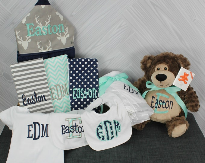 Baby Gift Basket, Custom for boy or girl, baby shower gift, new baby present, monogrammed baby gift basket, personalized newborn gift