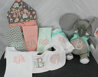 Baby Gift Basket, Custom for boy or girl, baby shower gift, new baby present, monogrammed baby gift basket, personalized newborn gift