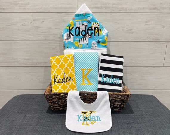 The Original Baby gift basket- Custom for boy or girl monogrammed hooded towel, burp cloths and bib. Perfect baby shower gift!