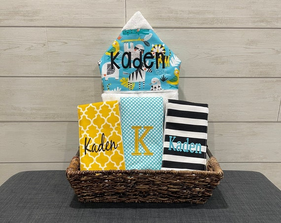 The Bath and Burp gift basket- Custom for boy or girl monogrammed hooded towel and burp cloths. Perfect baby shower gift!