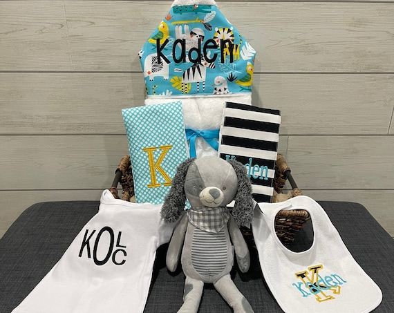 """All That and a Plush Baby gift basket- Custom for boy or girl monogrammed hooded towel, burp cloths, bib, onesie and 16"""" plush animal"""