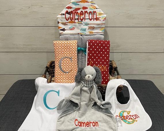 A Taste of the Favorites Baby gift basket- Custom for boy or girl monogrammed hooded towel, burp cloths, bib and onesie