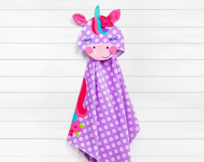Unicorn Hooded Beach Towel toddler kids FREE personalization Embroidery