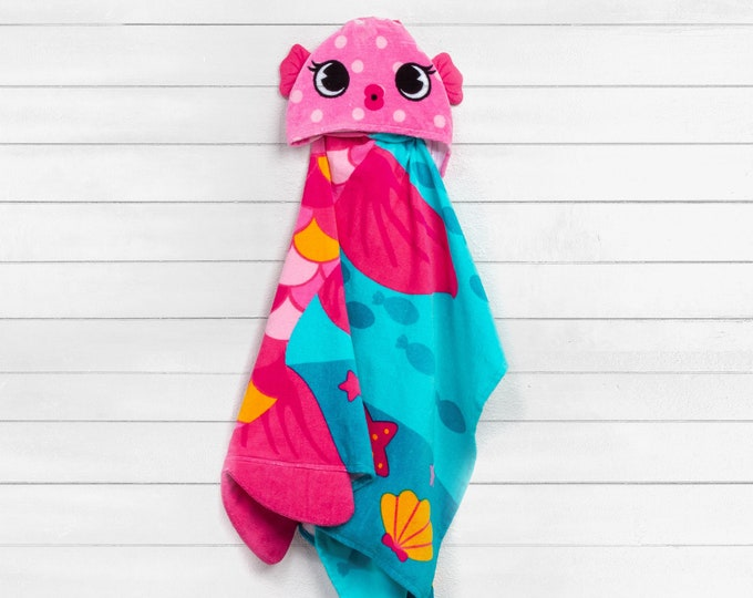 Girl Clownfish Hooded Beach Towel toddler kids FREE personalization Embroidery