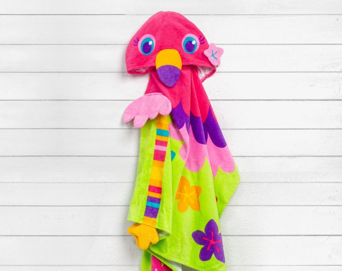 Flamingo Hooded Beach Towel toddler kids FREE personalization Embroidery