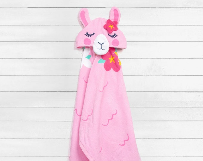 Llama Hooded Beach Towel toddler kids FREE personalization Embroidery