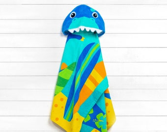 Dinosaur Hooded Beach Towel toddler kids FREE personalization Embroidery