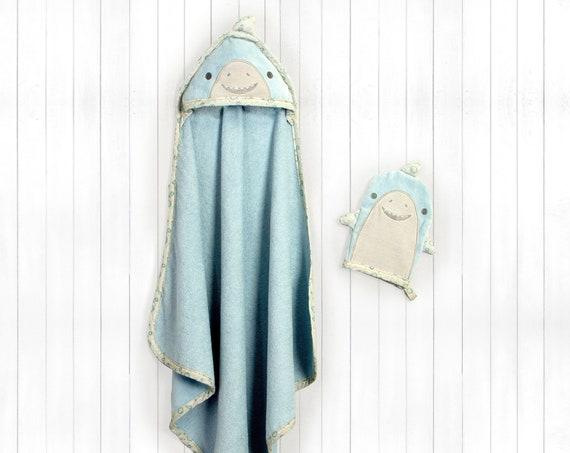 Baby Hooded Bath Towel + Bath Mitt Personalized