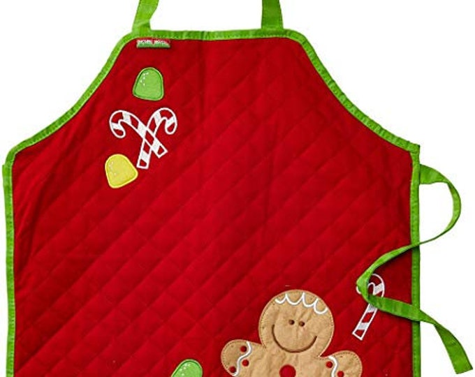 Stephen Joseph Kids Quilted Gingerbread Man Cooking Apron Personalized. Choose from Monster, Girl Fox and Cupcake