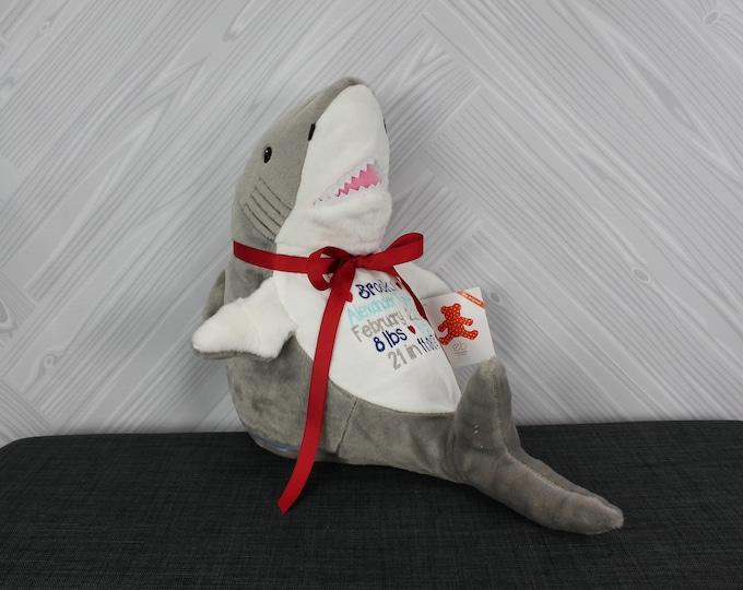 Personalized Shark Stuffed Animals, Custom Personalization, Baby Shower New Baby Adoption Baptism Christmas Birthday gift