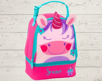 Unicorn Lunchbox toddler preschool kids FREE Embroidery personalization