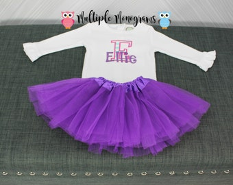 Personalized baby girl bodysuit with tutu