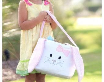 Easter Basket Pink Long Ears Bunny