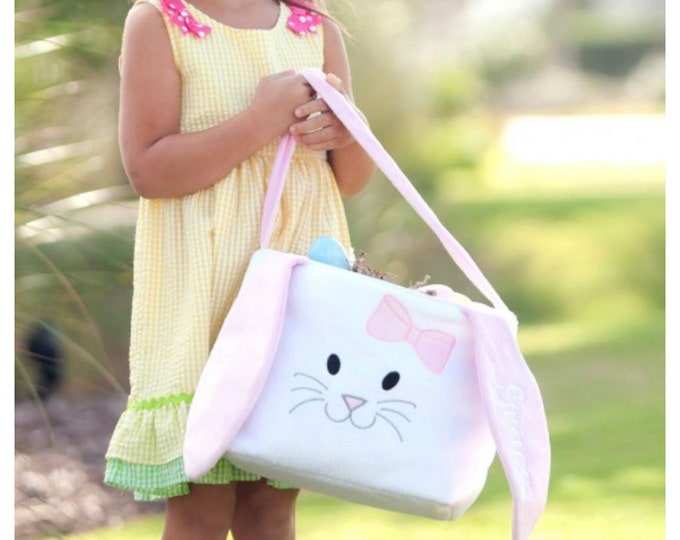 Easter Basket Pink Long Ears Bunny