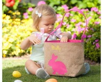 Easter Basket Pink Woven Bunny