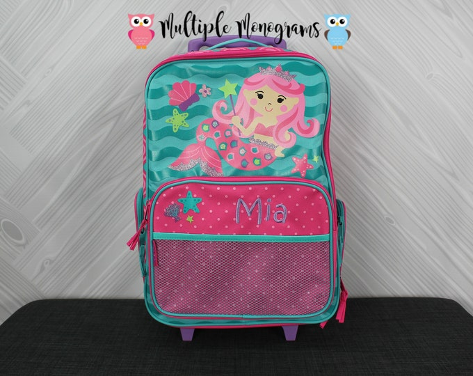 Mermaid Rolling Luggage toddler preschool kids FREE personalization Carry On Size Luggage
