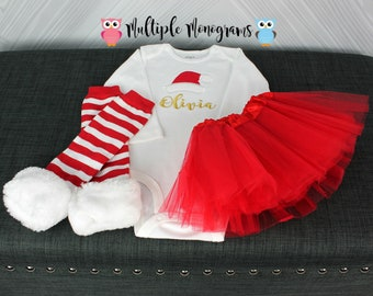 Baby/Girls gold monogrammed onesie/shirt with Santa Hat Topper with Red Tutu and ruffle/stripe legwarmers