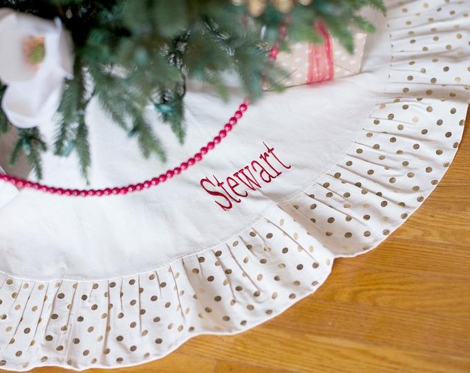 Gold Polkadot Christmas Tree Skirt with Ruffle FREE Personalization