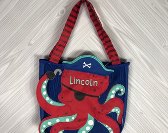 Red Octopus Beach Tote toddler kids FREE personalization and sand toys included