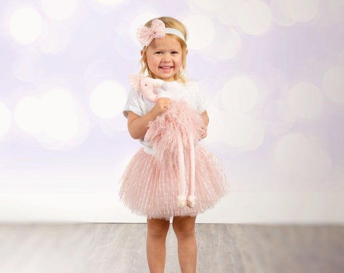 Personalized Girl's Outfit- Embroidered Shirt, Tutu, Headband and optional matching stuffed animal