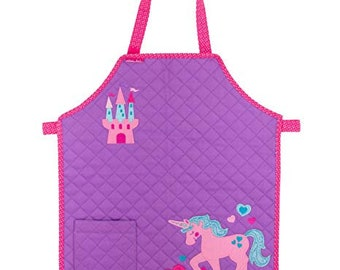 Stephen Joseph Kids Quilted Unicorn Cooking Apron Personalized. Choose from Monster, Girl Fox and Cupcake