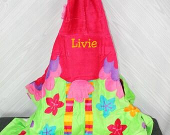 Flamingo Hooded Beach Towel toddler kids FREE personalization