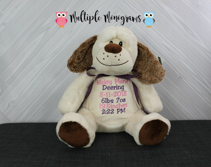 Personalized Dog Stuffed Animal Baby Shower New Baby Adoption Baptism Birthday Gift Completely Customizable