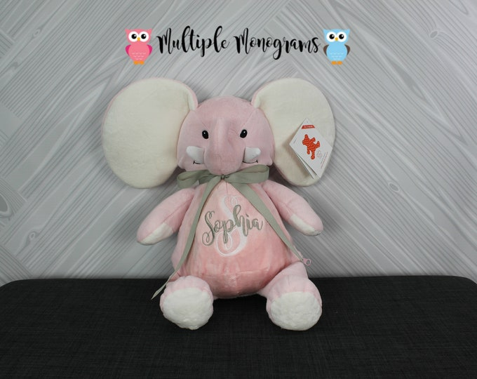 Personalized Elephant Stuffed Animal. Completely Customizable. New Baby Gift. Adoption Gift. Birthday Gift. Keepsake. Baptism Gift.