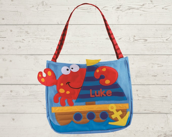 Crab and Ship Beach Tote toddler kids FREE personalization and sand toys included Embroidery