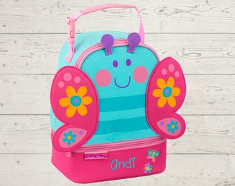 Butterfly Lunchbox toddler preschool kids FREE Embroidery personalization