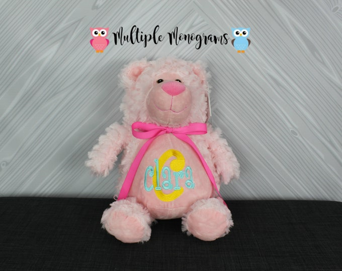 Personalized Pink Bear Stuffed Animal Custom Monogram or Personalization Baby Shower New Baby Gift Adoption Baptism Christmas Birthday Gift