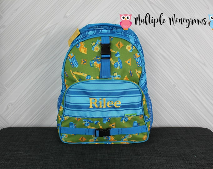Construction Trucks Backpack toddler preschool kids FREE Personalization