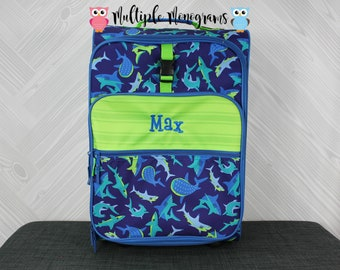 Shark Rolling Luggage toddler preschool kids FREE personalization Carry On Size Luggage