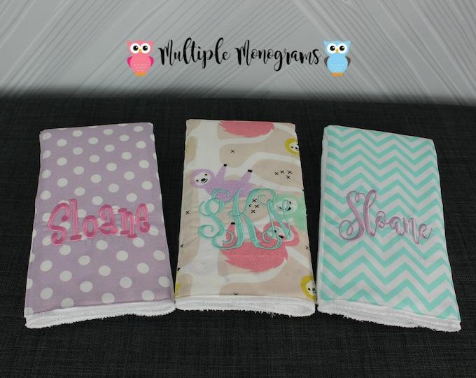 Monogrammed Burp Cloths, Set of 3, Custom made for boy or girl, Sloth burp cloths