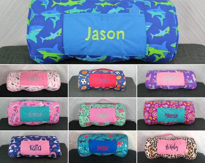 Nap Mat with Pillow and Blanket Attached Stephen Joseph FREE Personalization