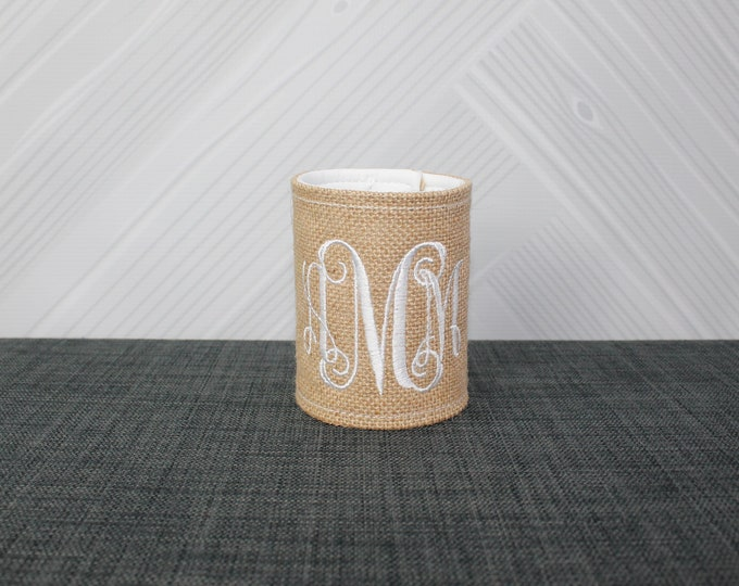 Burlap Drink Cover Cozie Wrap FREE Personalization