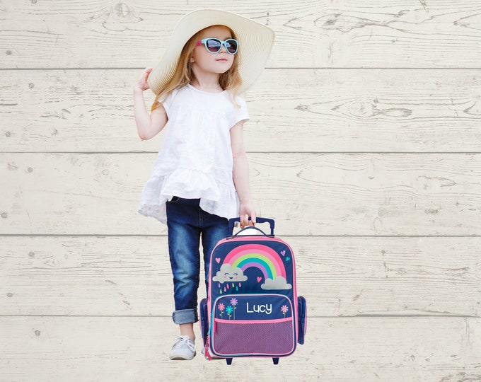 Rainbow Rolling Luggage toddler preschool kids FREE Embroidery personalization Carry On Size Luggage