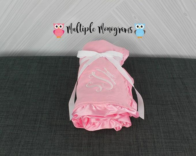 Monogrammed Baby Ruffle Minky Blanket Pink Football