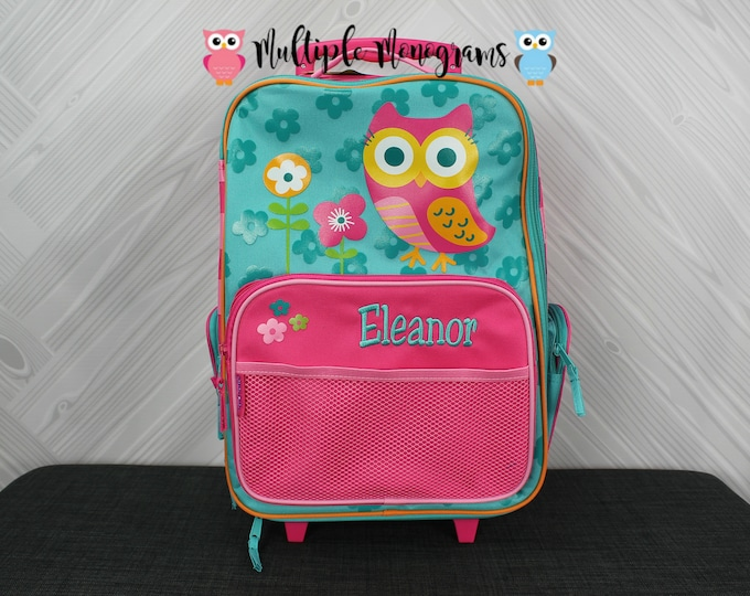 Owl Rolling Luggage toddler preschool kids FREE personalization Carry On Size Luggage
