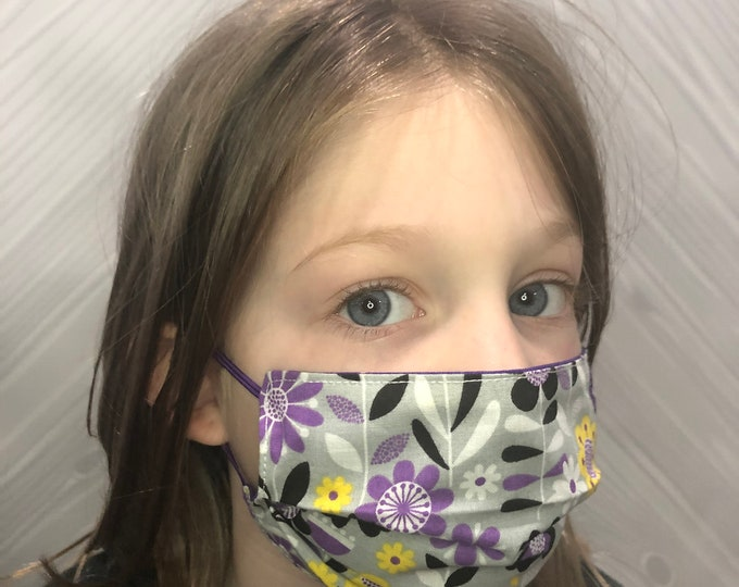 Child Face Mask, Reversible Face Mask, Washable Face Covering, Reusable Face Mask, 100% Cotton Face Mask, Double Layer, Made in the USA