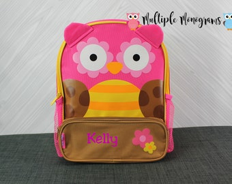 Brown and Pink Owl Sidekick Backpack toddler preschool kids FREE Personalization