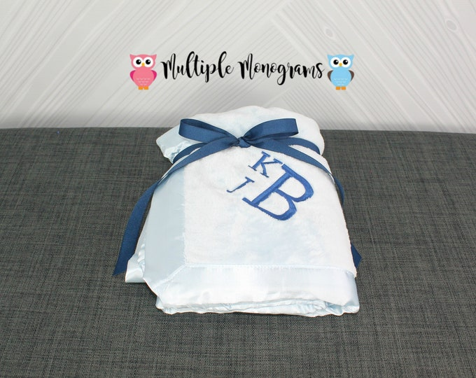 Monogrammed Baby Satin Trim Microfleece Blanket Light Pink, Baby Blue and White